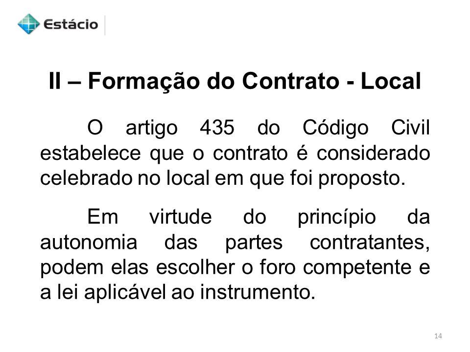 II – Formação do Contrato - Local