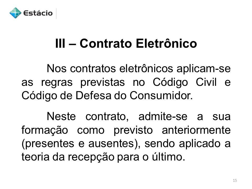 III – Contrato Eletrônico