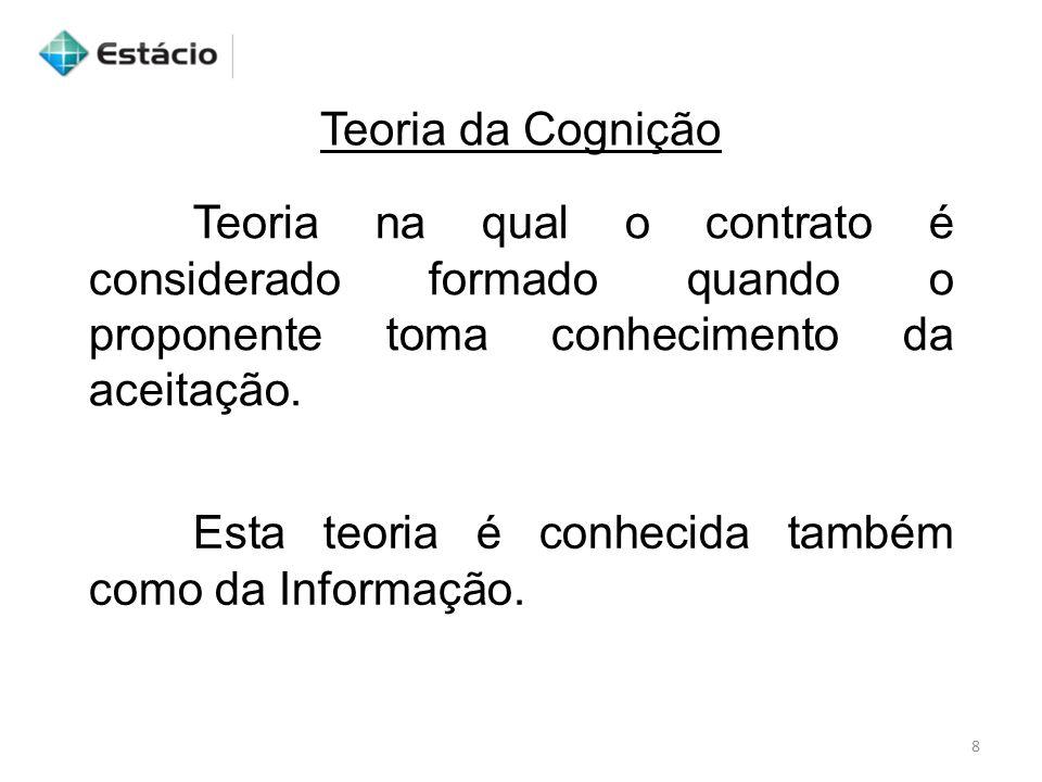 Teoria da Cognição Teoria na qual o contrato é considerado formado quando o proponente toma conhecimento da aceitação.