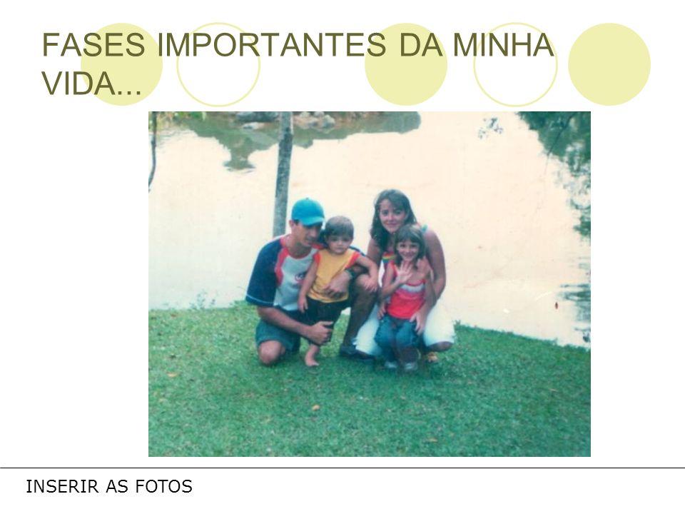 FASES IMPORTANTES DA MINHA VIDA...