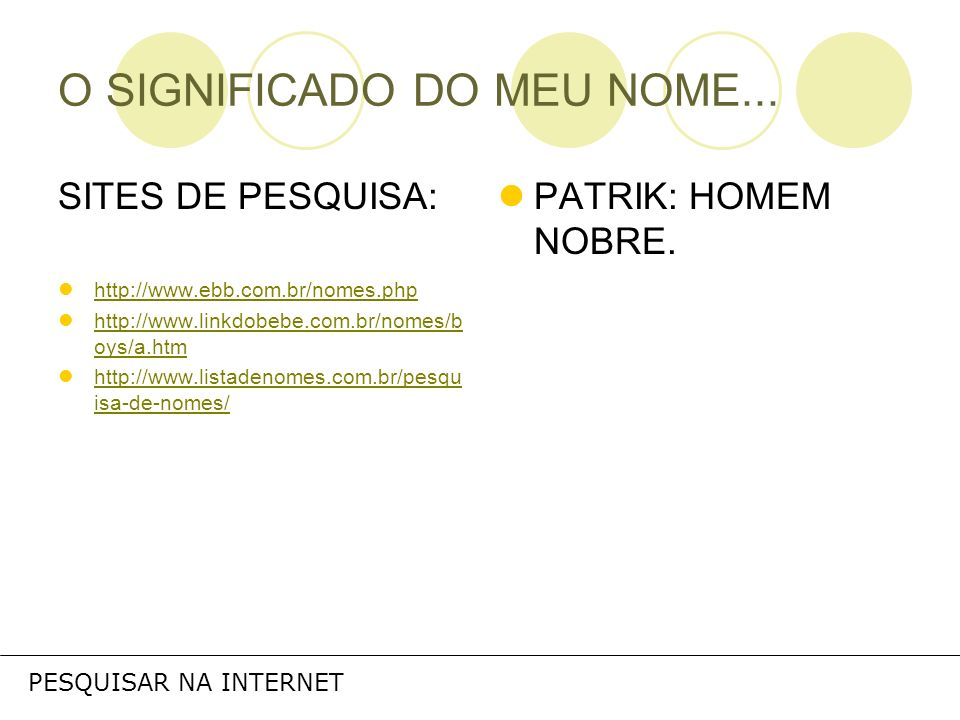 O SIGNIFICADO DO MEU NOME...