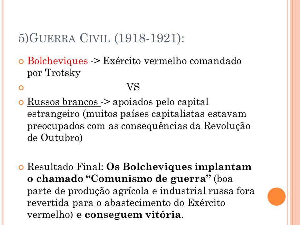5)Guerra Civil (1918-1921): Bolcheviques -> Exército vermelho comandado por Trotsky. VS.