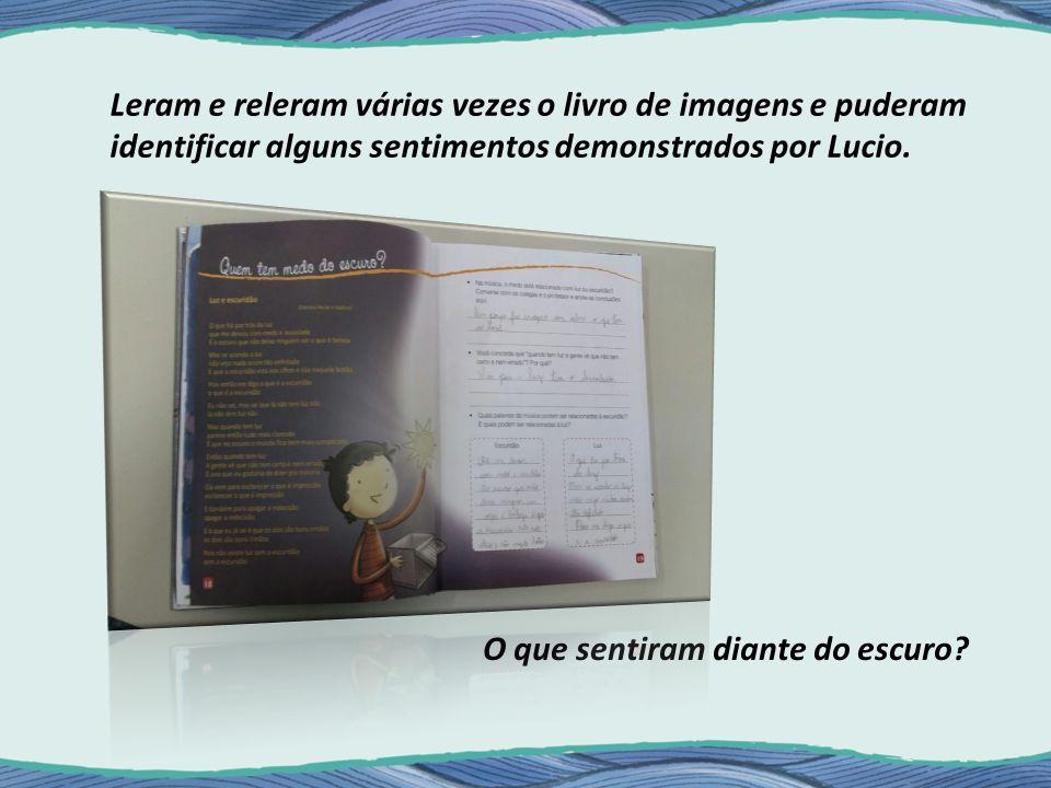 Leram e releram várias vezes o livro de imagens e puderam identificar alguns sentimentos demonstrados por Lucio.
