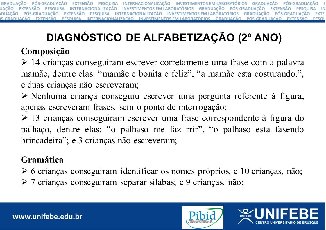DIAGNÓSTICO DE ALFABETIZAÇÃO (2º ANO)