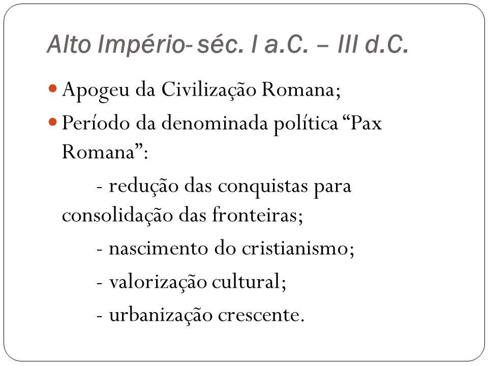 Alto Império- séc. I a.C. – III d.C.