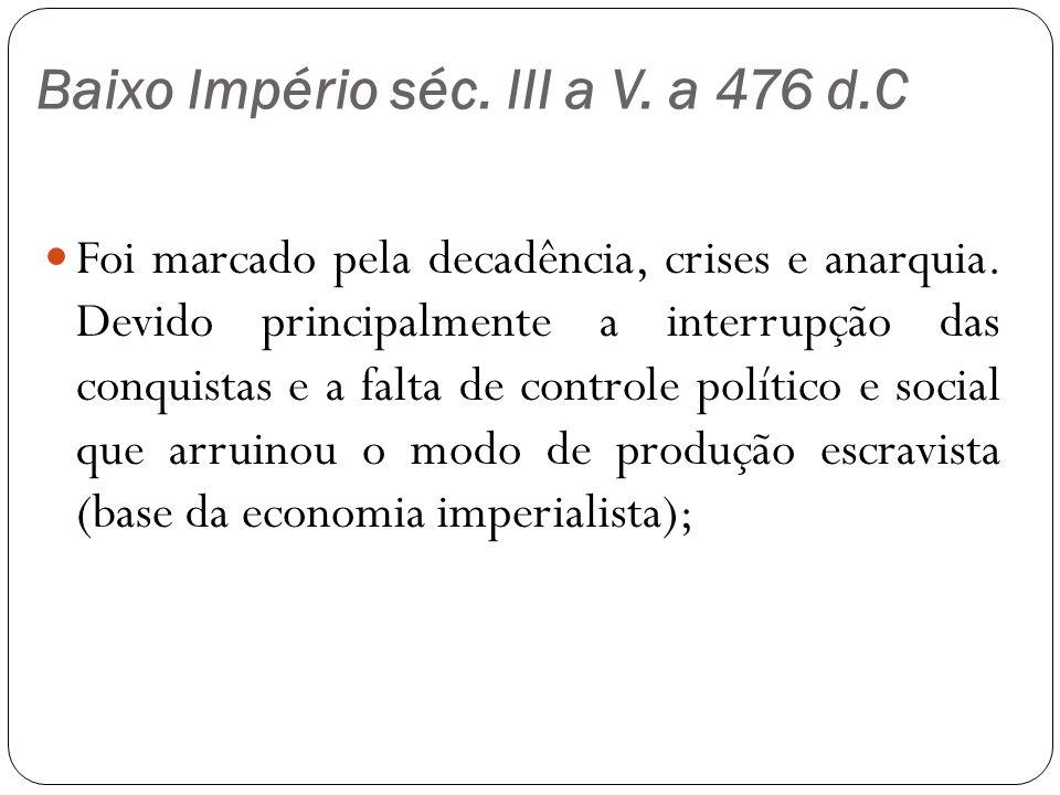 Baixo Império séc. III a V. a 476 d.C