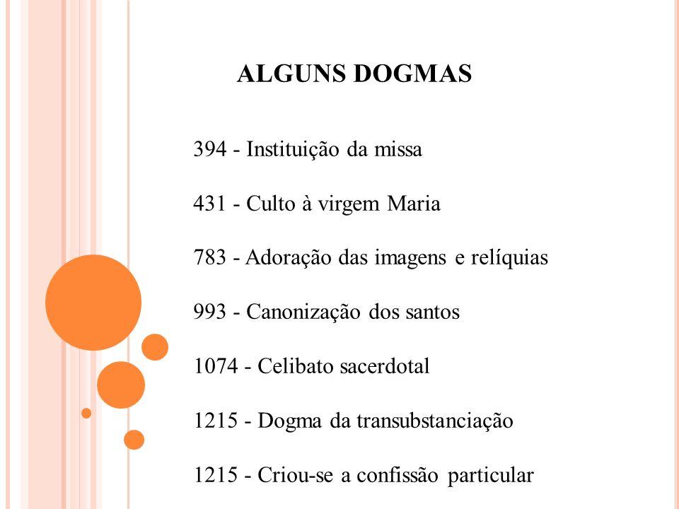 ALGUNS DOGMAS 394 - Instituição da missa 431 - Culto à virgem Maria