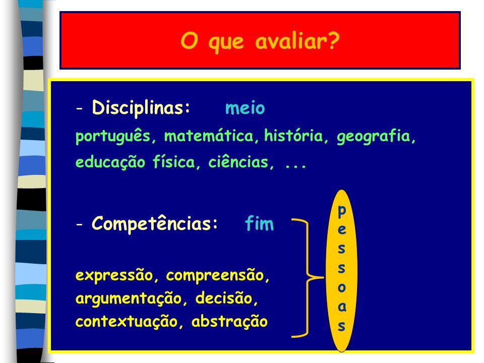 O que avaliar Disciplinas: meio Competências: fim