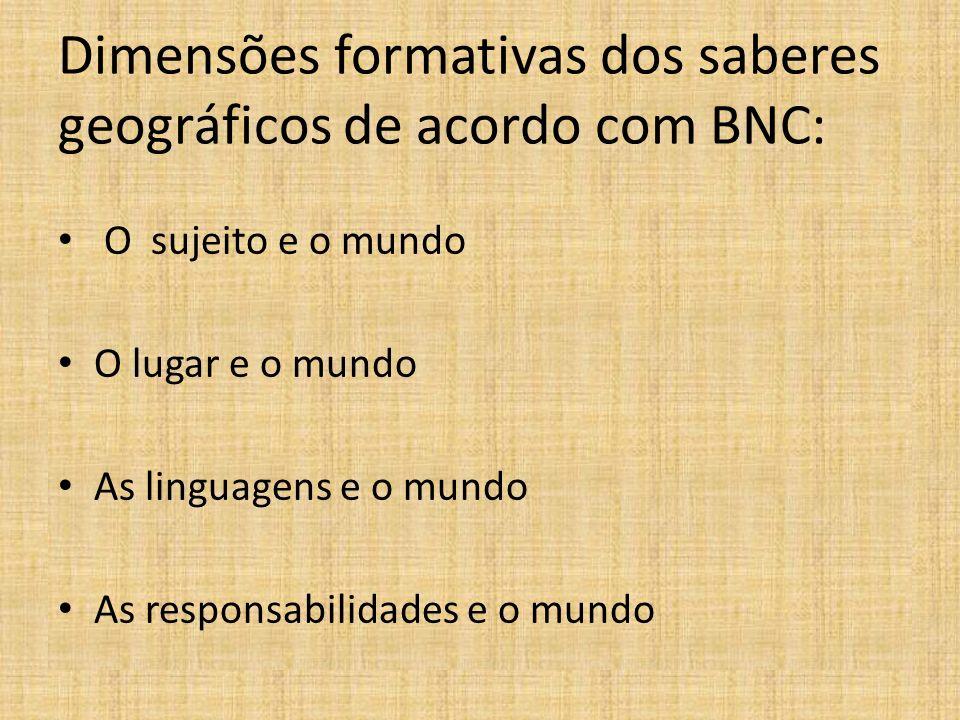 Dimensões formativas dos saberes geográficos de acordo com BNC: