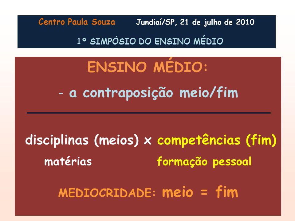 ENSINO MÉDIO: a contraposição meio/fim