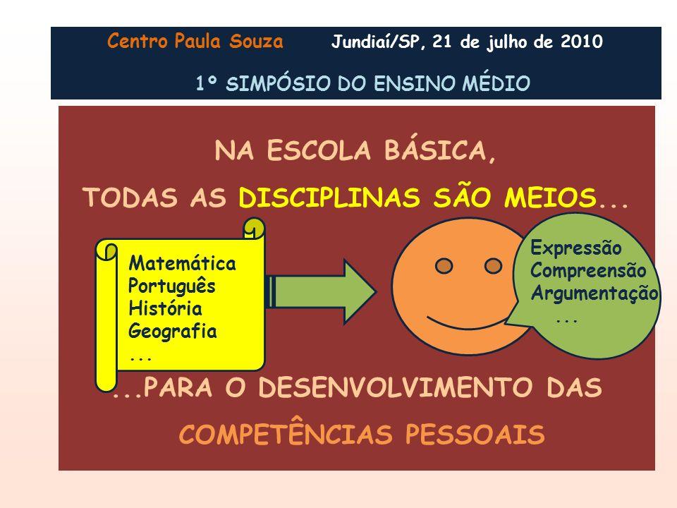 TODAS AS DISCIPLINAS SÃO MEIOS...