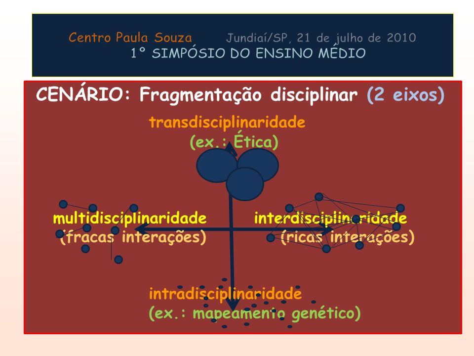 CENÁRIO: Fragmentação disciplinar (2 eixos) transdisciplinaridade