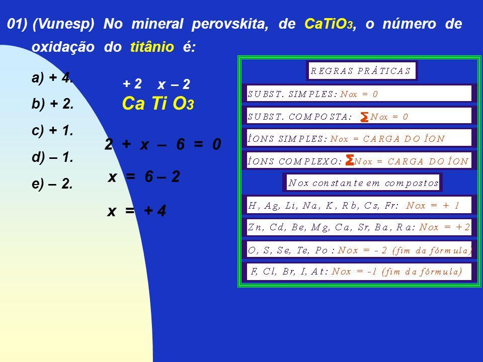 01) (Vunesp) No mineral perovskita, de CaTiO3, o número de