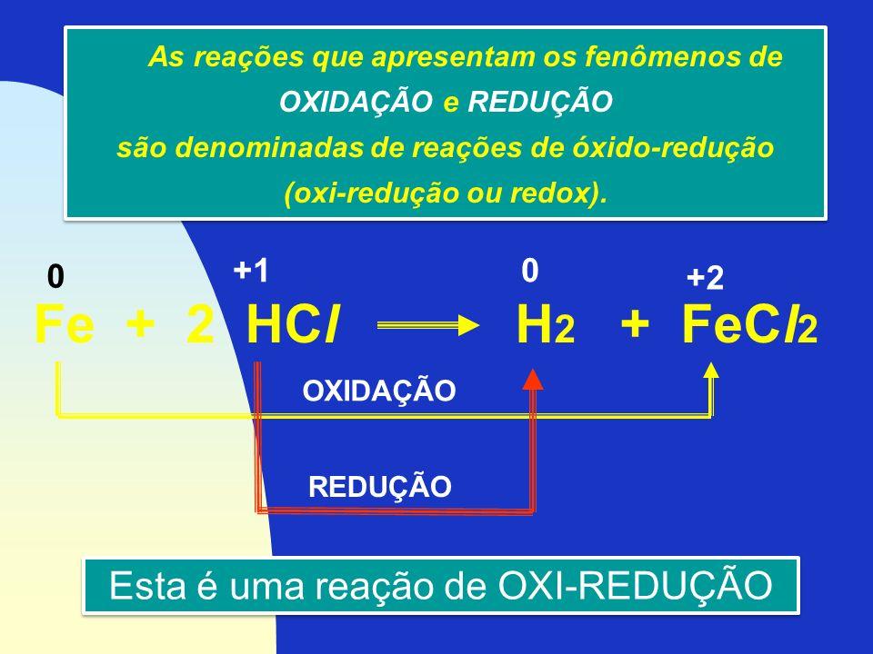 Fe + 2 HCl H2 + FeCl2 Esta é uma reação de OXI-REDUÇÃO +1 +2