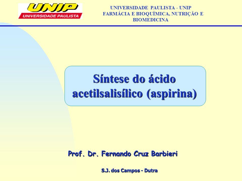 Síntese do ácido acetilsalisílico (aspirina)