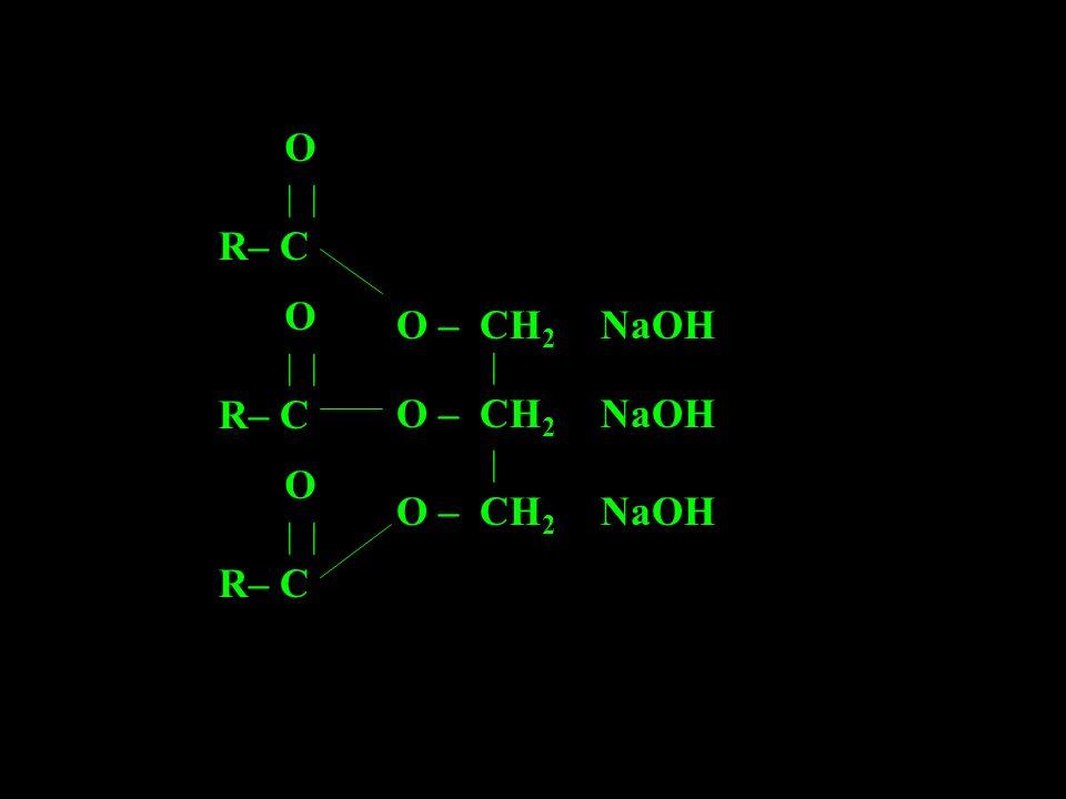 R– C | | O O – CH2 NaOH | O – CH2 NaOH | O – CH2 NaOH