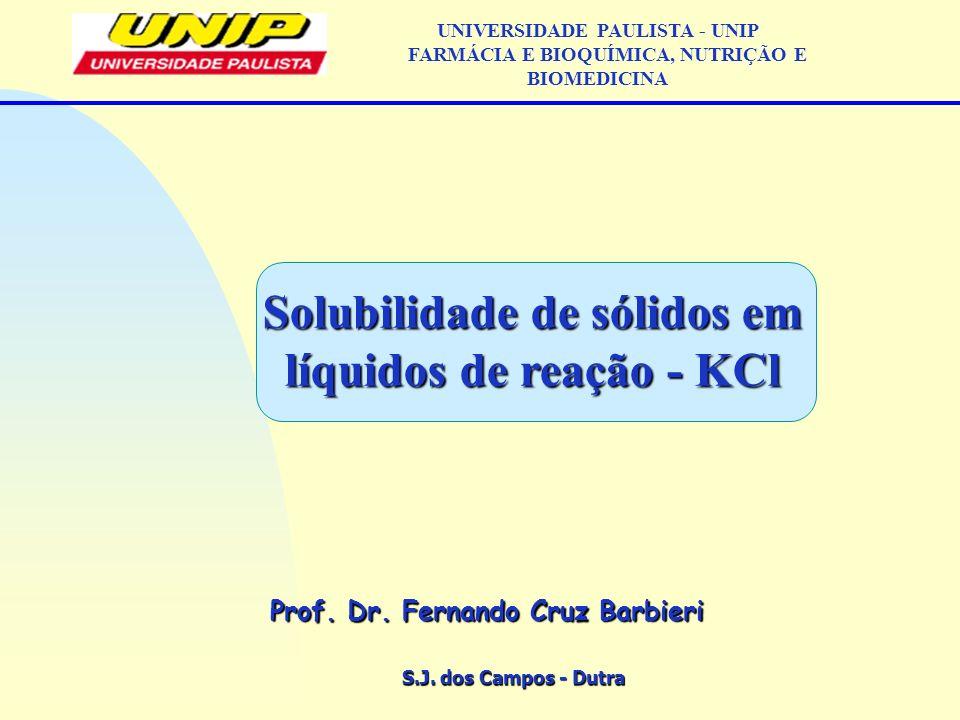 Solubilidade de sólidos em líquidos de reação - KCl