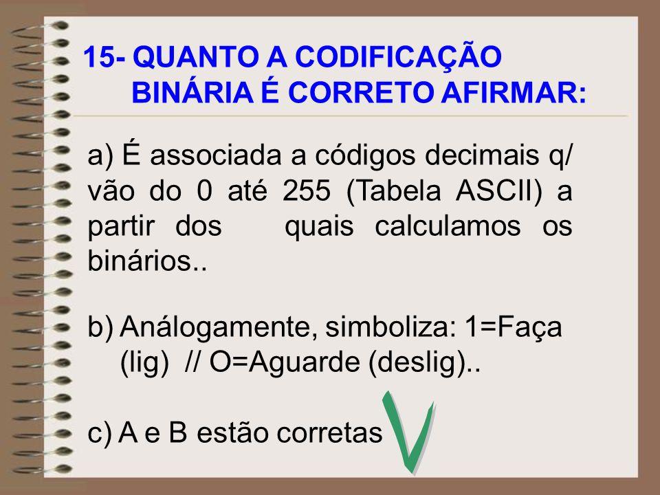 V 15- QUANTO A CODIFICAÇÃO BINÁRIA É CORRETO AFIRMAR: