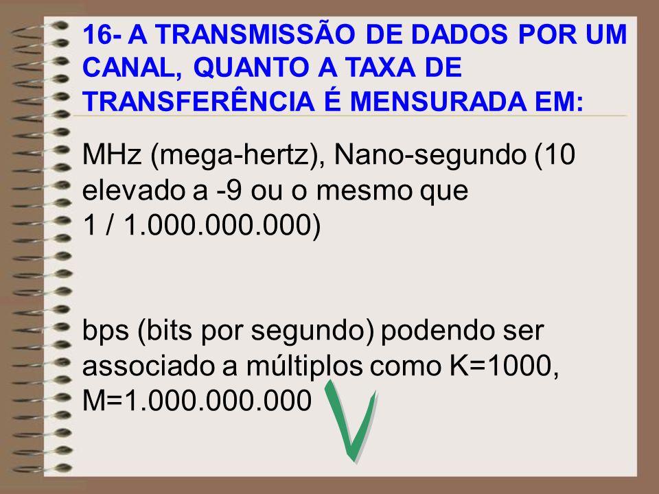 V MHz (mega-hertz), Nano-segundo (10 elevado a -9 ou o mesmo que