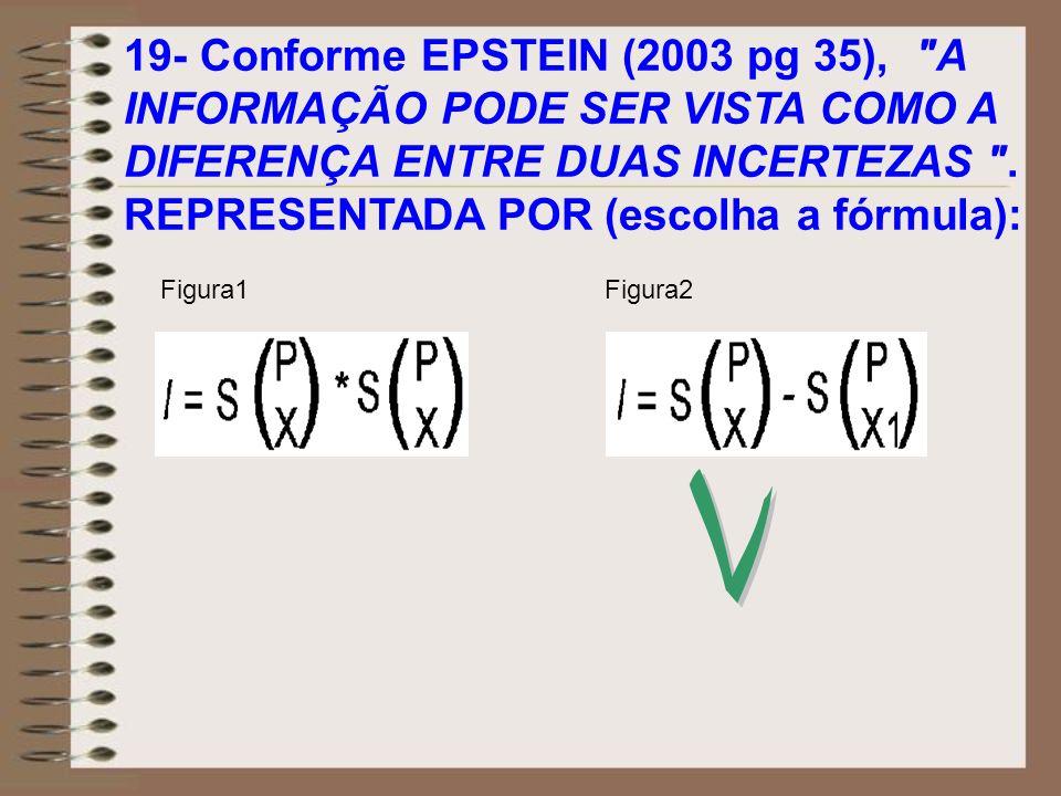 19- Conforme EPSTEIN (2003 pg 35), A INFORMAÇÃO PODE SER VISTA COMO A DIFERENÇA ENTRE DUAS INCERTEZAS . REPRESENTADA POR (escolha a fórmula):
