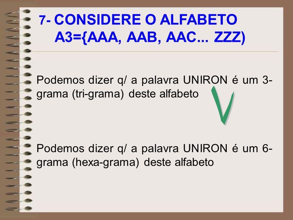 A3={AAA, AAB, AAC... ZZZ) V 7- CONSIDERE O ALFABETO