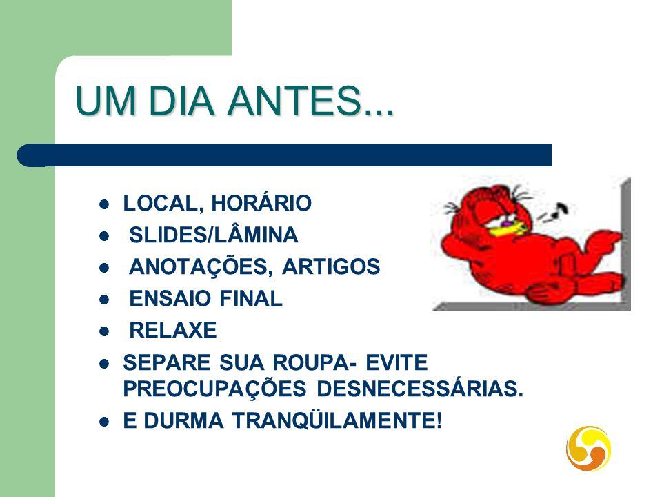 UM DIA ANTES... LOCAL, HORÁRIO SLIDES/LÂMINA ANOTAÇÕES, ARTIGOS