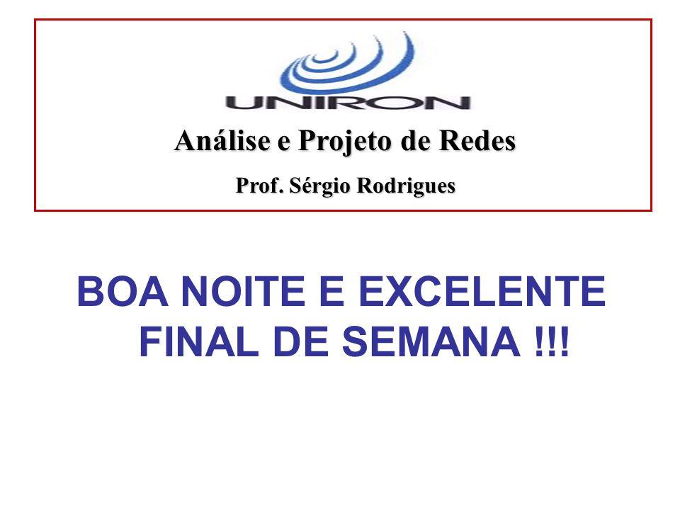Análise e Projeto de Redes BOA NOITE E EXCELENTE FINAL DE SEMANA !!!