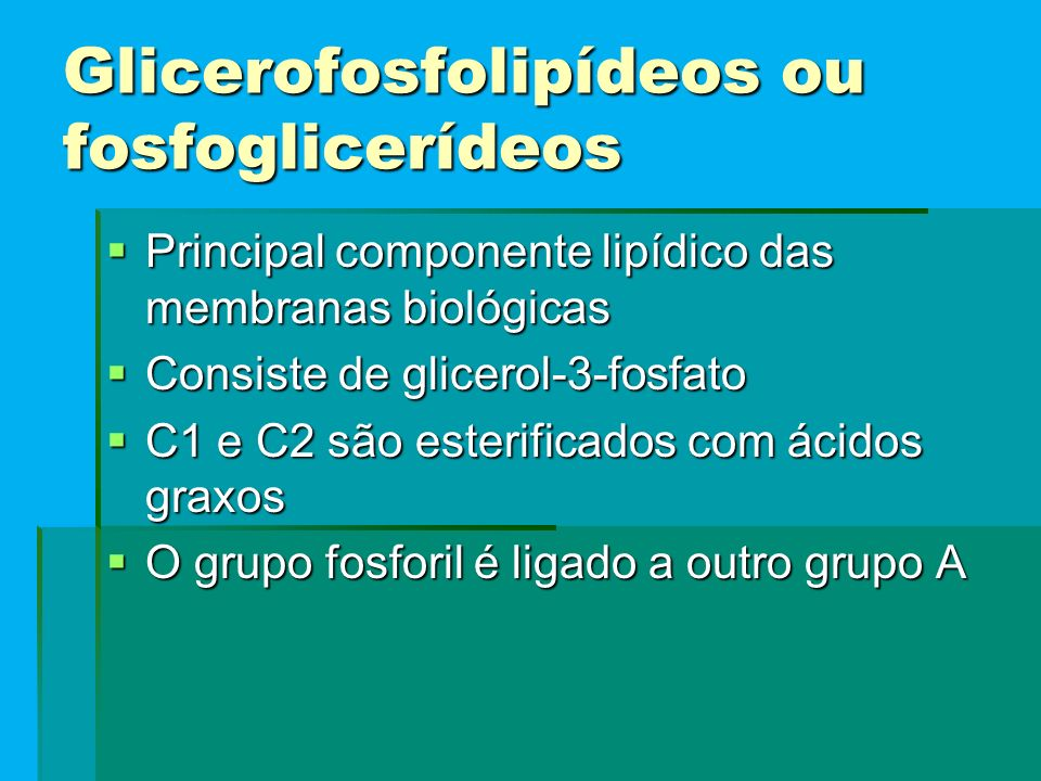 Glicerofosfolipídeos ou fosfoglicerídeos
