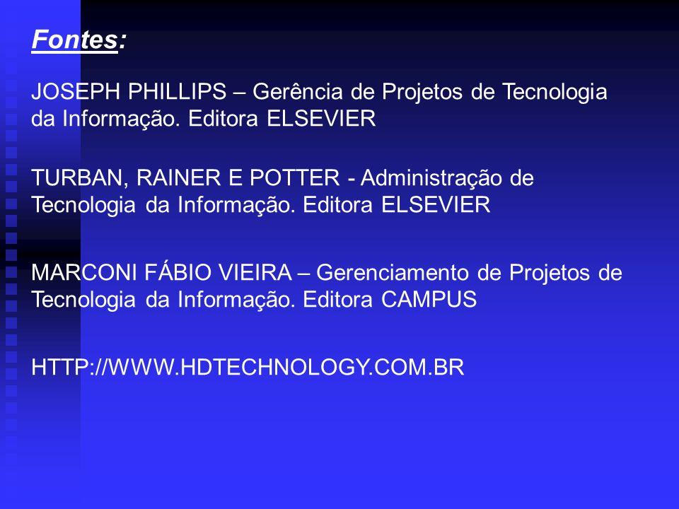 Fontes: JOSEPH PHILLIPS – Gerência de Projetos de Tecnologia da Informação. Editora ELSEVIER.
