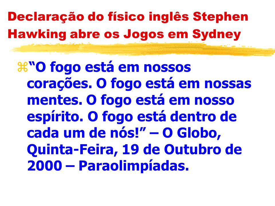 Declaração do físico inglês Stephen Hawking abre os Jogos em Sydney