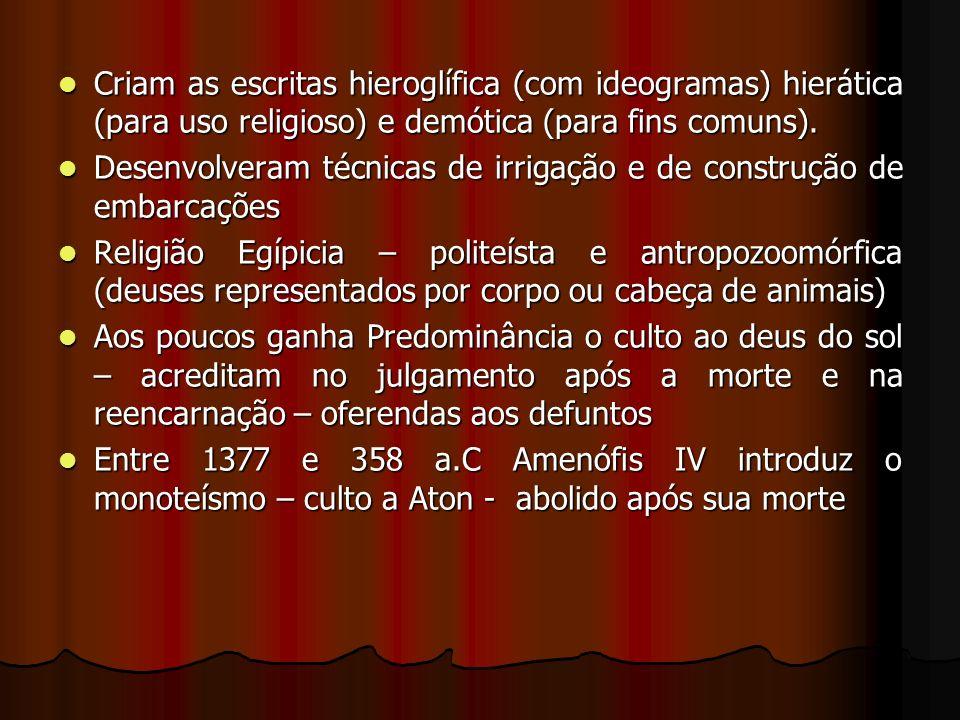 Criam as escritas hieroglífica (com ideogramas) hierática (para uso religioso) e demótica (para fins comuns).