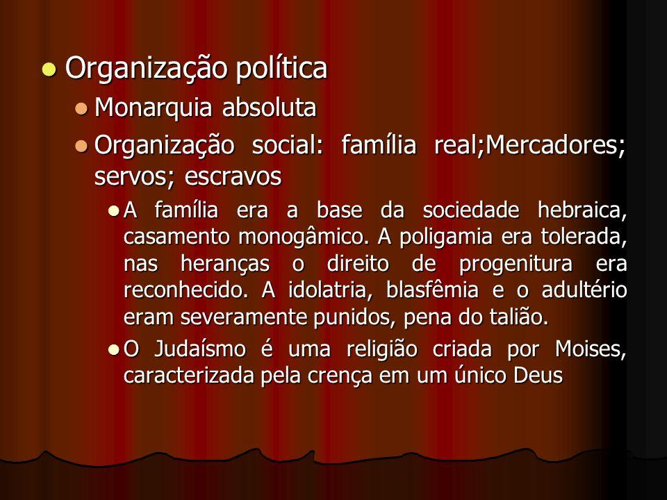 Organização política Monarquia absoluta