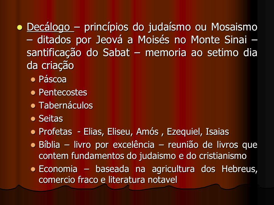 Decálogo – princípios do judaísmo ou Mosaismo – ditados por Jeová a Moisés no Monte Sinai – santificação do Sabat – memoria ao setimo dia da criação