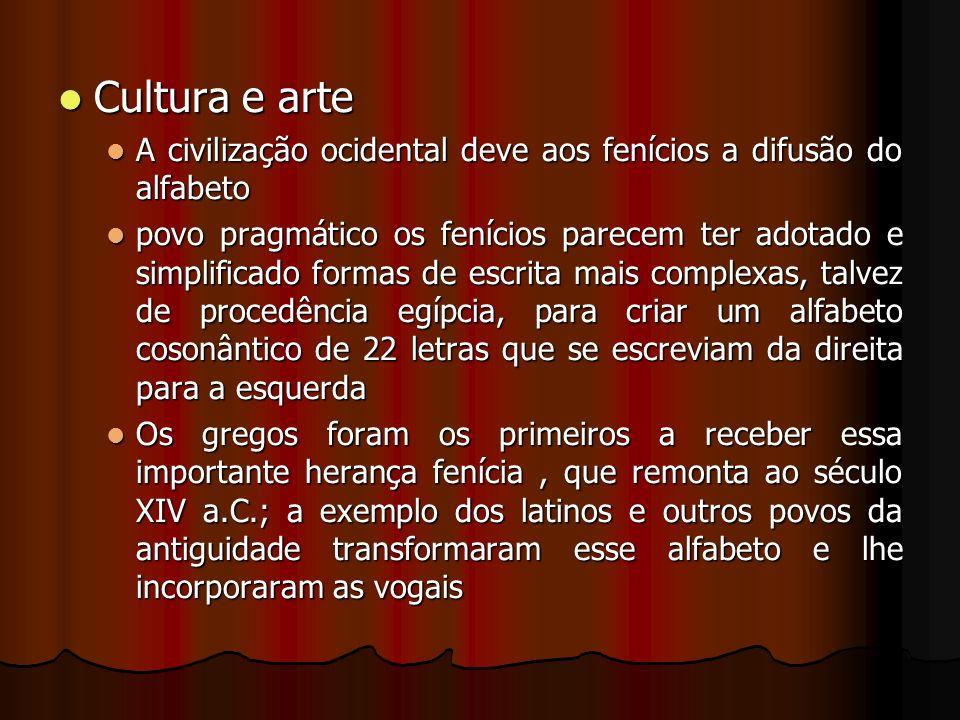 Cultura e arte A civilização ocidental deve aos fenícios a difusão do alfabeto.