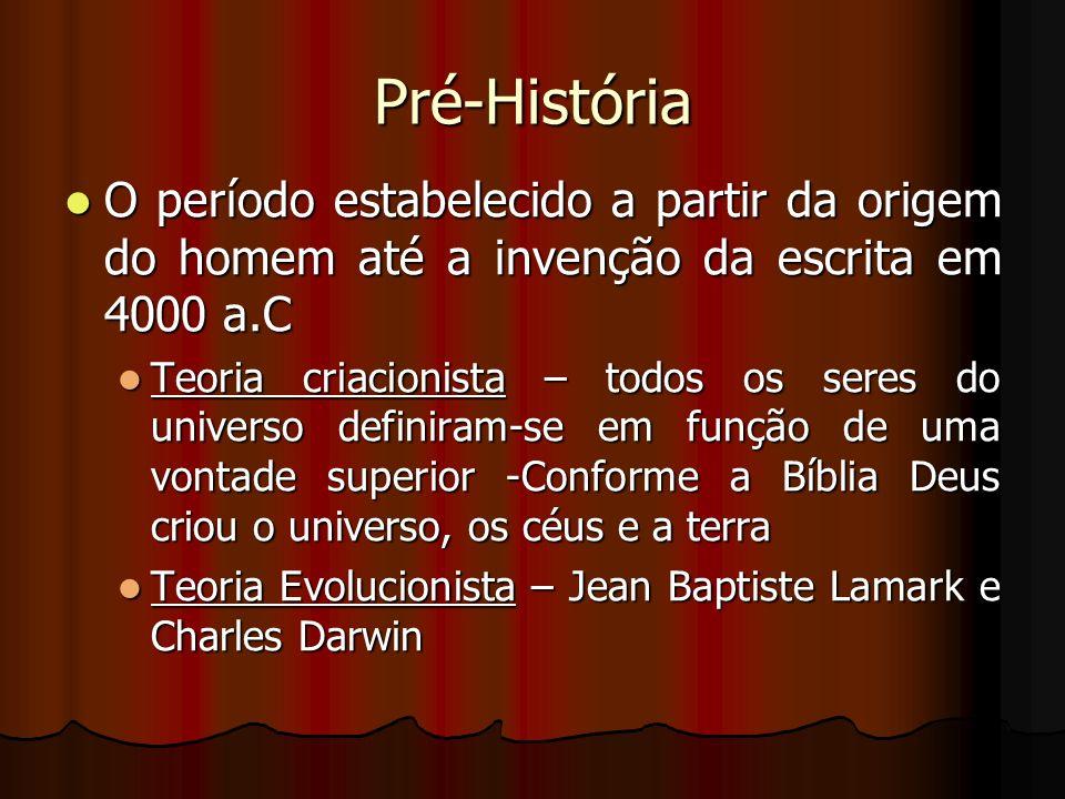 Pré-História O período estabelecido a partir da origem do homem até a invenção da escrita em 4000 a.C.