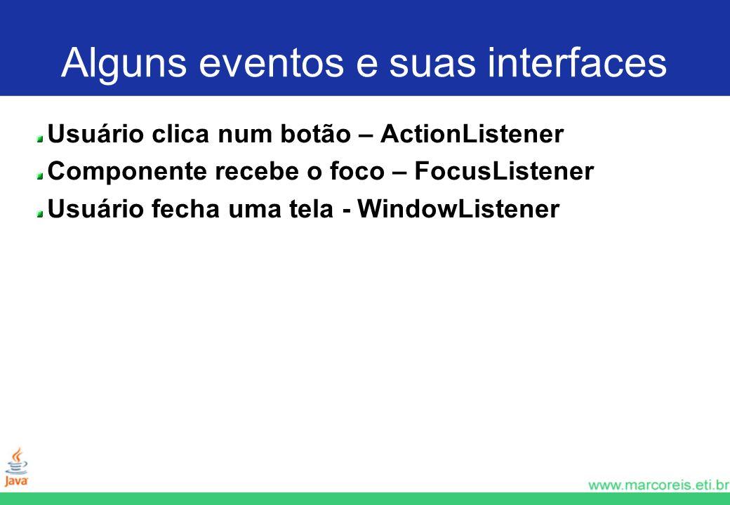 Alguns eventos e suas interfaces