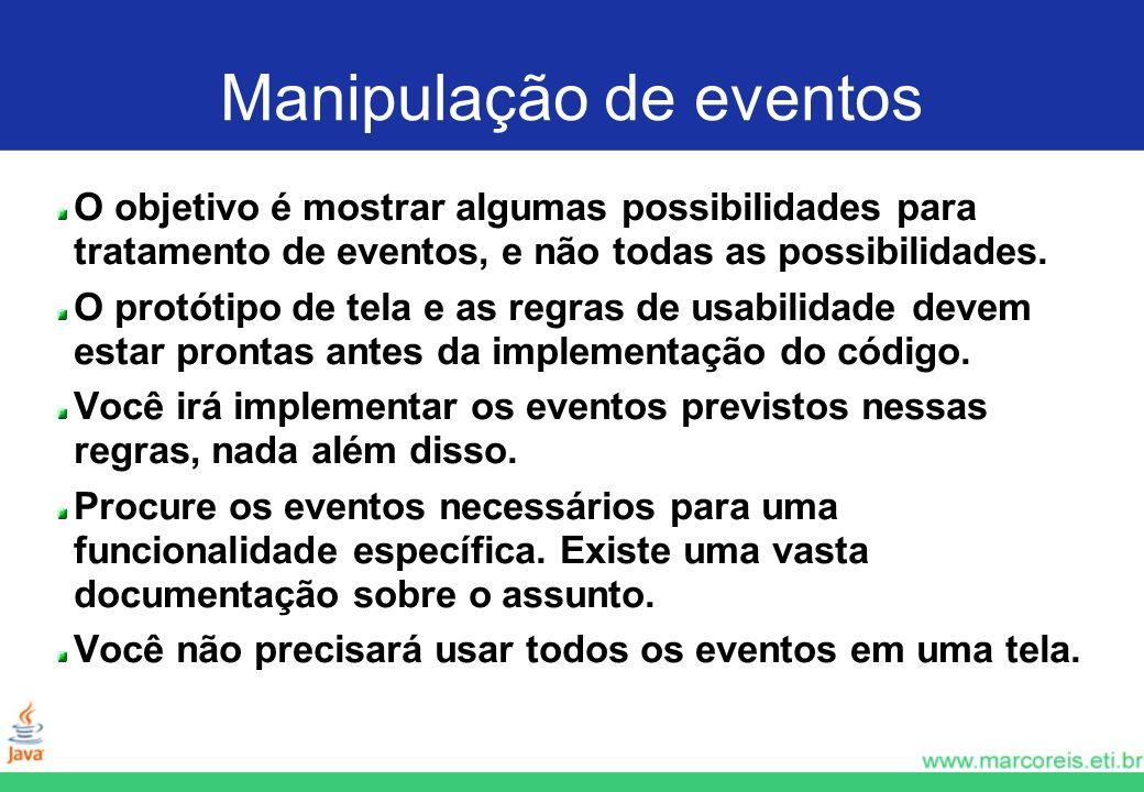 Manipulação de eventos