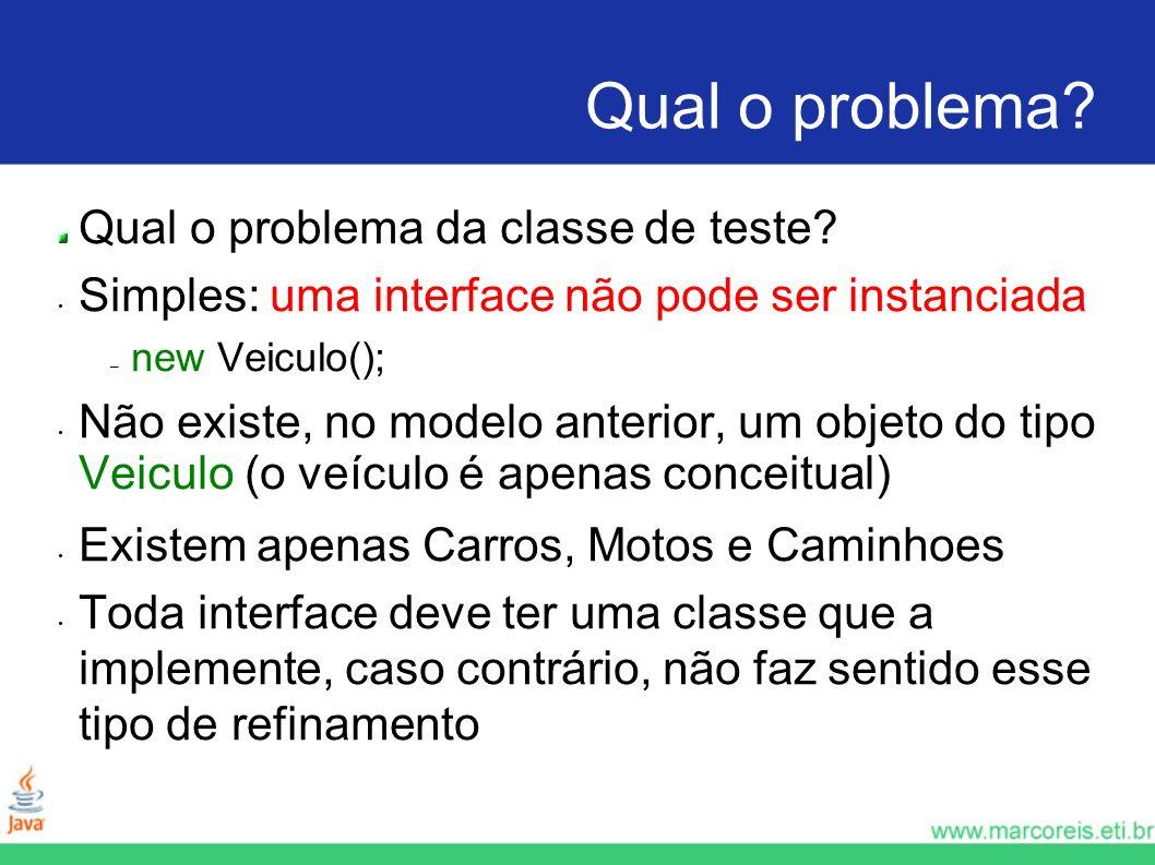 Qual o problema Qual o problema da classe de teste