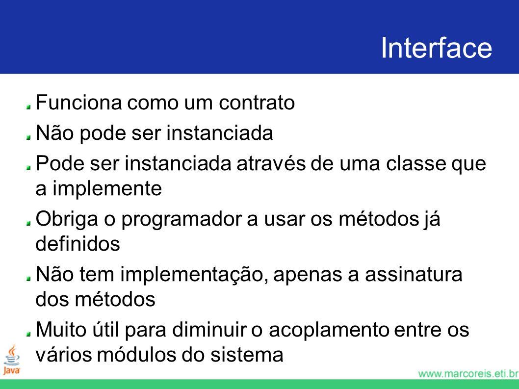 Interface Funciona como um contrato Não pode ser instanciada