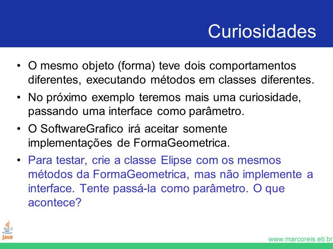 Curiosidades O mesmo objeto (forma) teve dois comportamentos diferentes, executando métodos em classes diferentes.