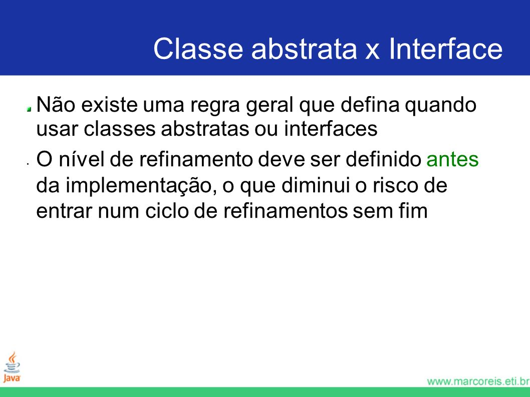 Classe abstrata x Interface