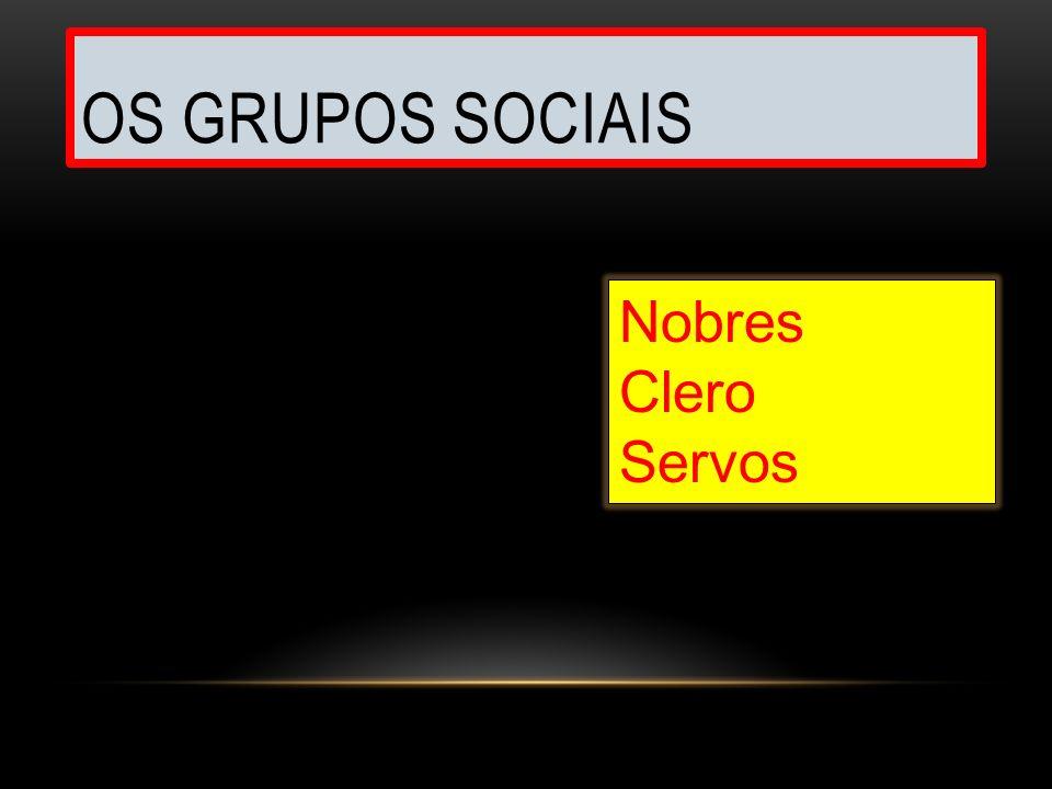 OS GRUPOS SOCIAIS Nobres Clero Servos