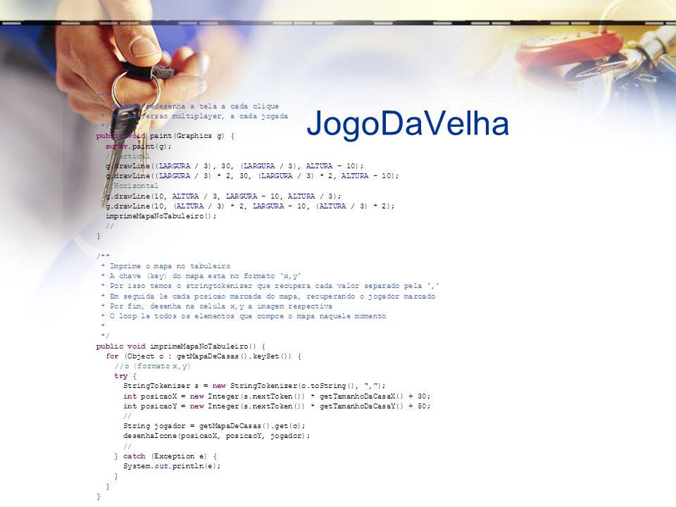 JogoDaVelha /** * Desenha/redesenha a tela a cada clique