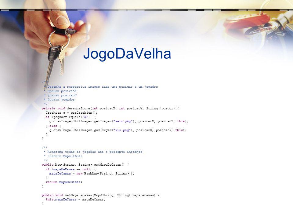 JogoDaVelha /** * Desenha a respectiva imagem dada uma posicao e um jogador. * @param posicaoX. * @param posicaoY.
