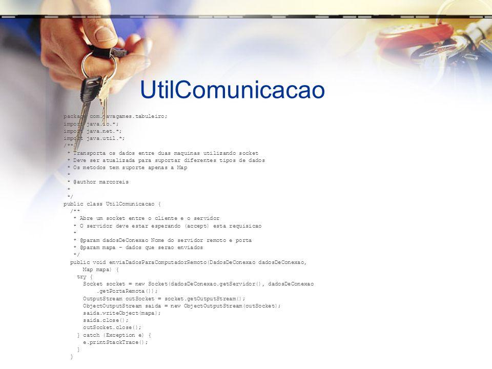 UtilComunicacao package com.javagames.tabuleiro; import java.io.*;