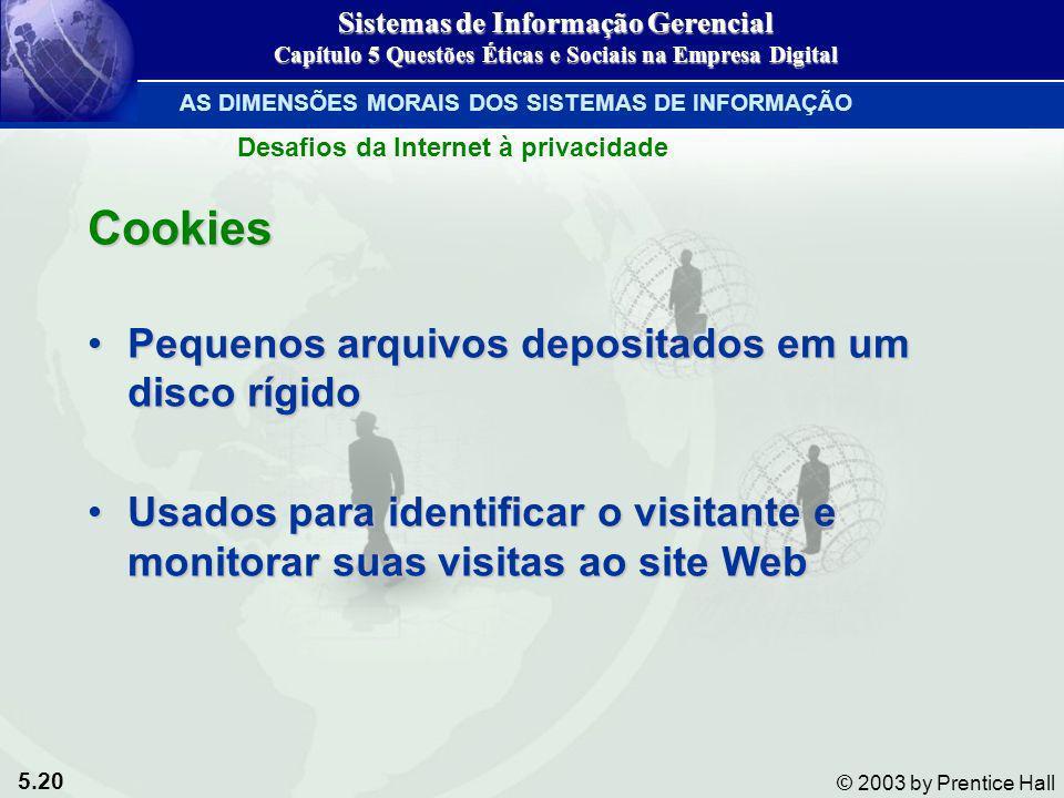Cookies Pequenos arquivos depositados em um disco rígido