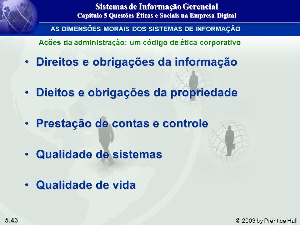 Direitos e obrigações da informação