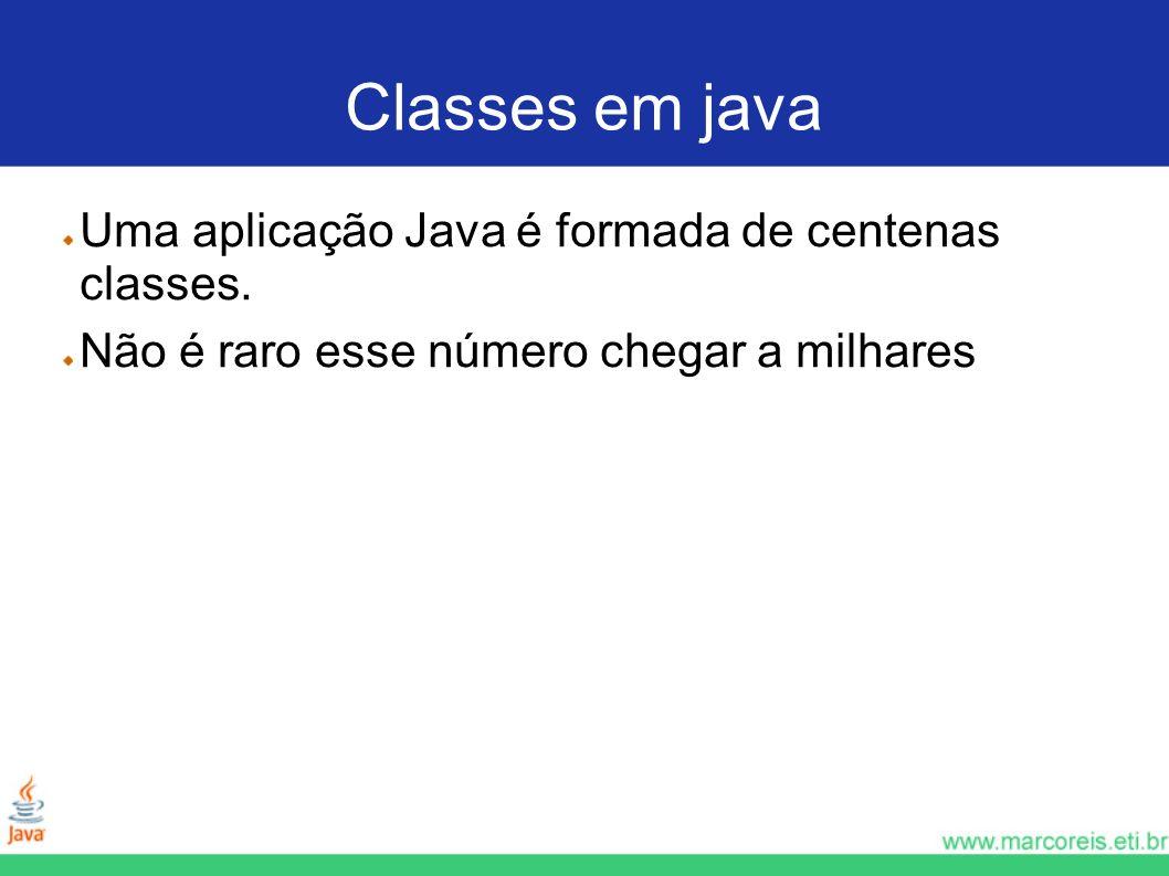 Classes em java Uma aplicação Java é formada de centenas classes.