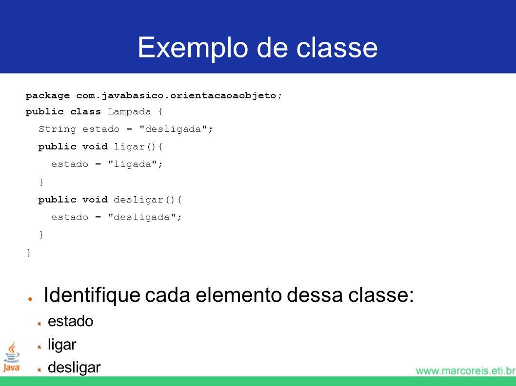 Exemplo de classe Identifique cada elemento dessa classe: estado ligar