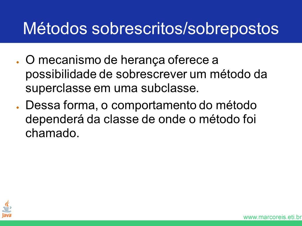Métodos sobrescritos/sobrepostos